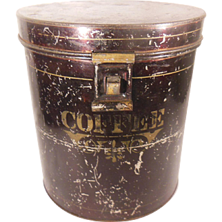 Early Metal Coffee Tin or Canister with Stenciling