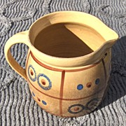 Old Golden Yellow Stick Painted Feuerfest Milk Pitcher
