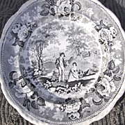 19th Century Black Transfer Ware Plate Pastoral RS