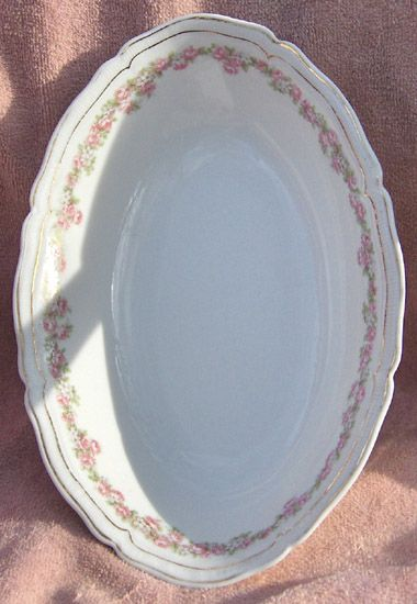 Vienna Austria Porcelain Pink and White Flowers Oval Open Vegetable Bowl