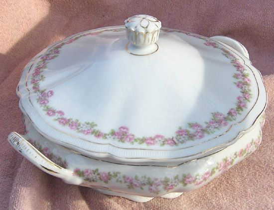 Vienna Austria Porcelain Pink and White Flowers Handled Round Covered Vegetable Bowl or Casserole