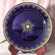 """Cobalt Blue and Gold 8 ½"""" German Plate"""