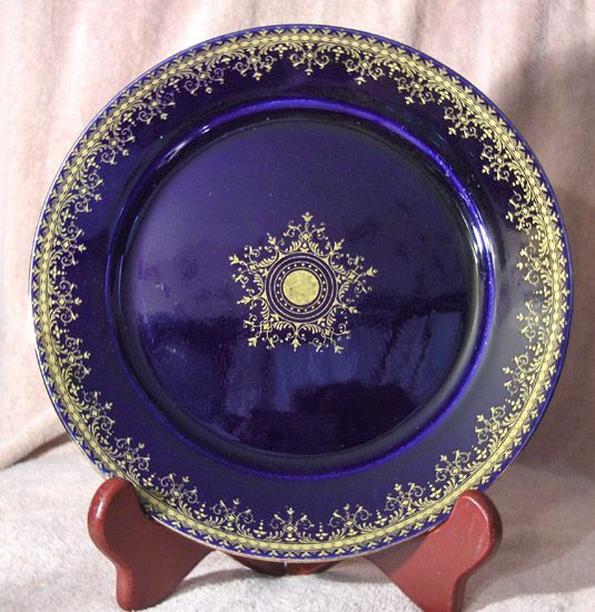 "Cobalt Blue and Gold 8 ½"" German Plate"