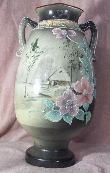 Hand Painted Nippon Green Mark Eco Moriage Vase Penny