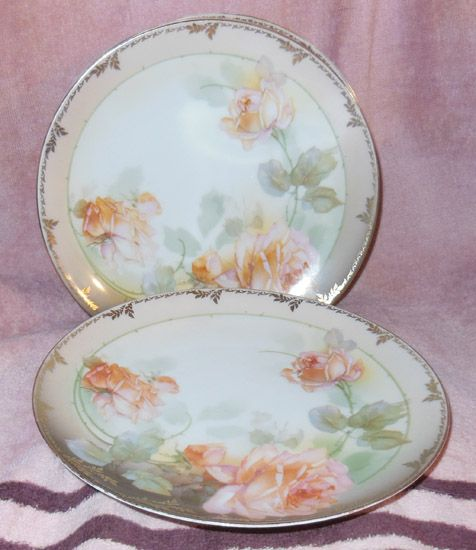 "R. S. Germany Pink Roses 8"" Plates Set of 6"