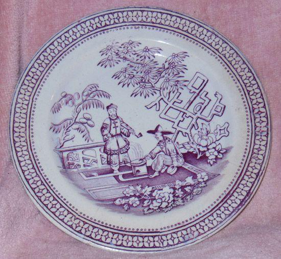 T.G.B. Purple Transferware Plate Pekin Pattern