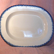 1800's Rectangular Blue Feather Edge Platter