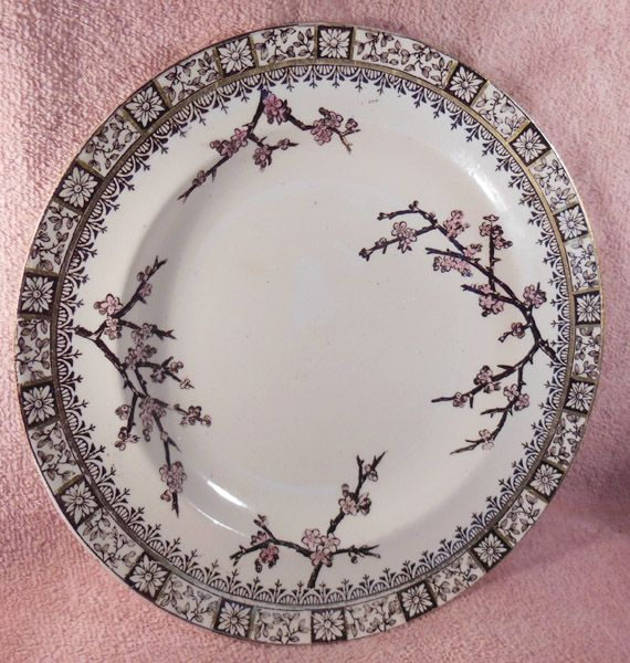 E. J. D. Bodley Brown Transferware Plate Thorn Pattern