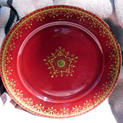 "Deep Red and Gold 8 ½"" German Plate"