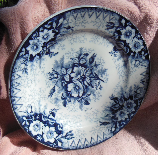 Antique French K & G Luneville Floral Flow Blue Plate Eglantine Rose Pattern