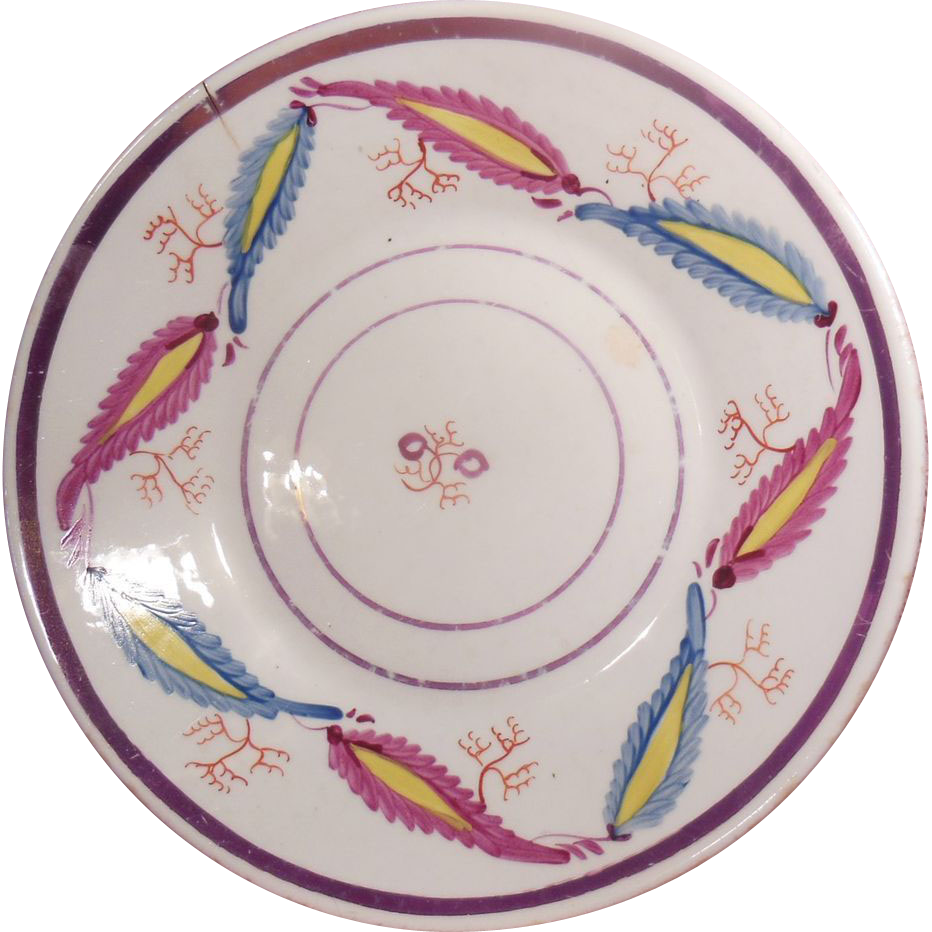 Early 19th Century Pink Luster Hand Painted Shallow Bowl or Saucer