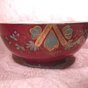 Antique Hand Painted Footed Russian Raspberry Colored Porcelain Bowl