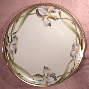 KPM Germany Pierced Handled Hand Painted Iris Cake Plate Signed W. Wilson