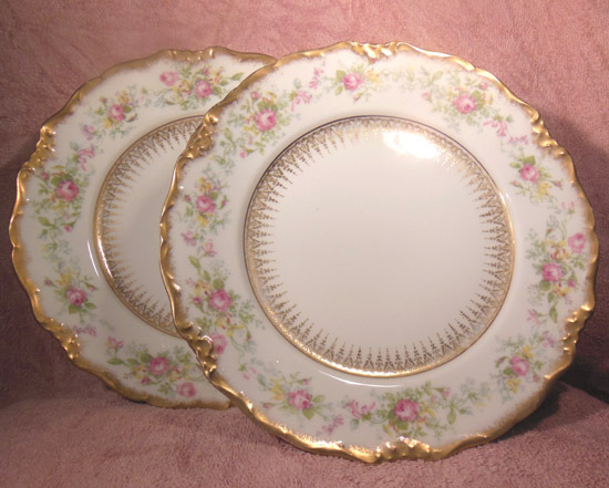Set of 8 Charles Ahrenfeldt Limoges Depose Pink Rose Dinner Plates Made for Bailey Banks and Biddle