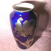 Clarus Ware Silver Overlay Cobalt Porcelain Vase