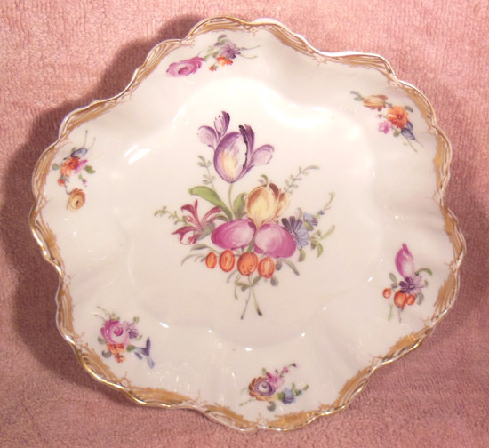 P. Donath Silesian Porcelain Fluted Small Floral Bowl