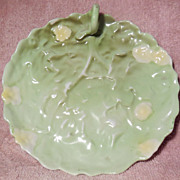 "Royal Bayreuth 5 ½"" Green Leaf Plate with Yellow Flowers and Finger Handle"