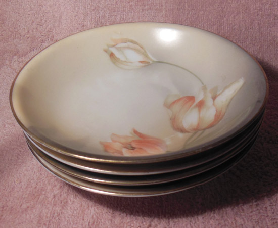 R. S. Germany Set of Four Berry Bowls Floral Tulips