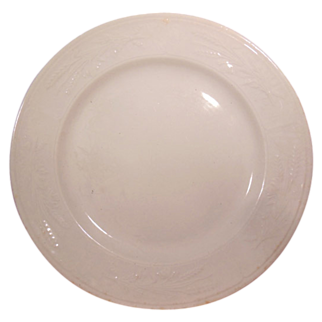 "Antique White Ironstone Plate 8 ½"" Plate by J. Clementson Wheat Pattern"