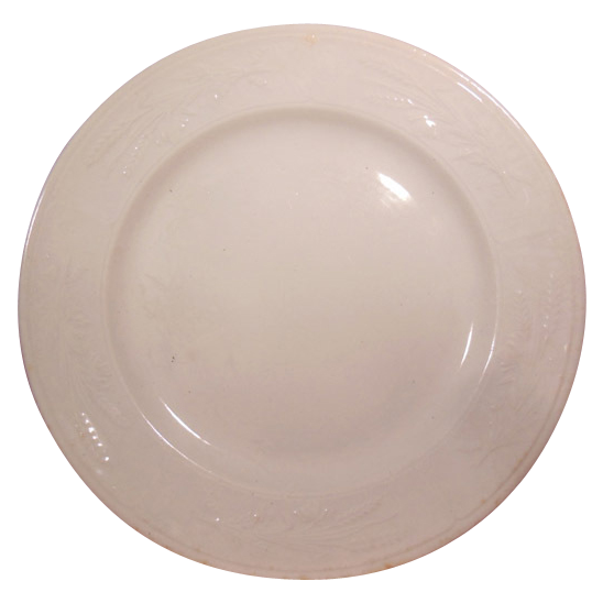"""Early White Ironstone Plate 8 ½"""" Plate by J. Clementson Wheat Pattern"""
