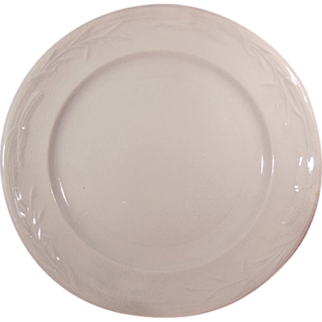 "Antique White Ironstone Plate 8 ¾"" Plate by Davenport Corn and Oat Pattern"