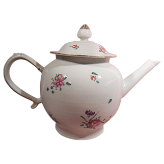 18th Century Chinese Export Teapot Hand Painted Flowers