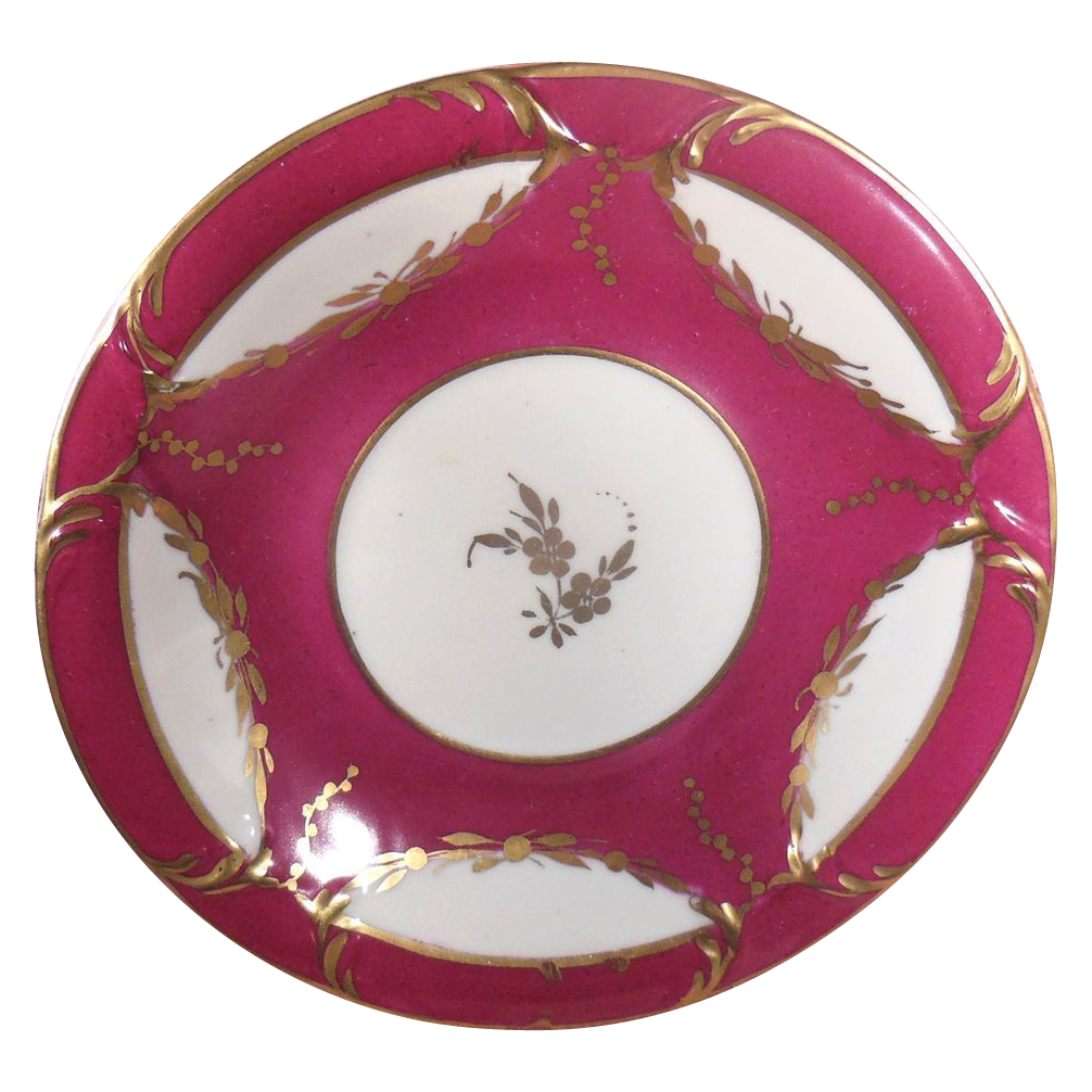 Décoré Main Raspberry and Gold French Porcelain Plate