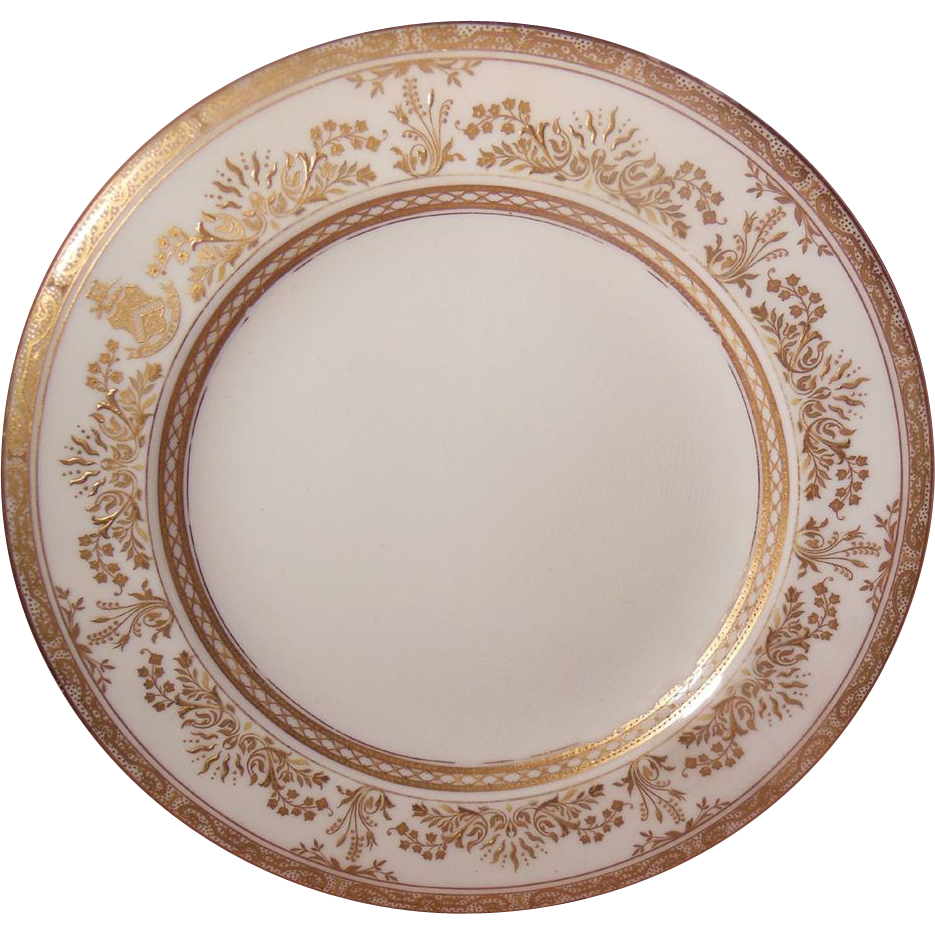 "White and Gold Encrusted Brownfields China Tiffany & Co. 9"" Plate"