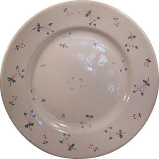 19th Century Early English Sprig Floral Plate