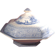 T. J. & J. Mayer Romantic Flow Blue Transferware Tureen Garden Scenery Pattern