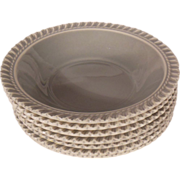 "Seven Harkerware Chesterton Pate sur Pate 5 ½"" Gray Berry Bowls"