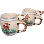 Pair of Figural Deer Handle Children's Mugs Always Drink Milk