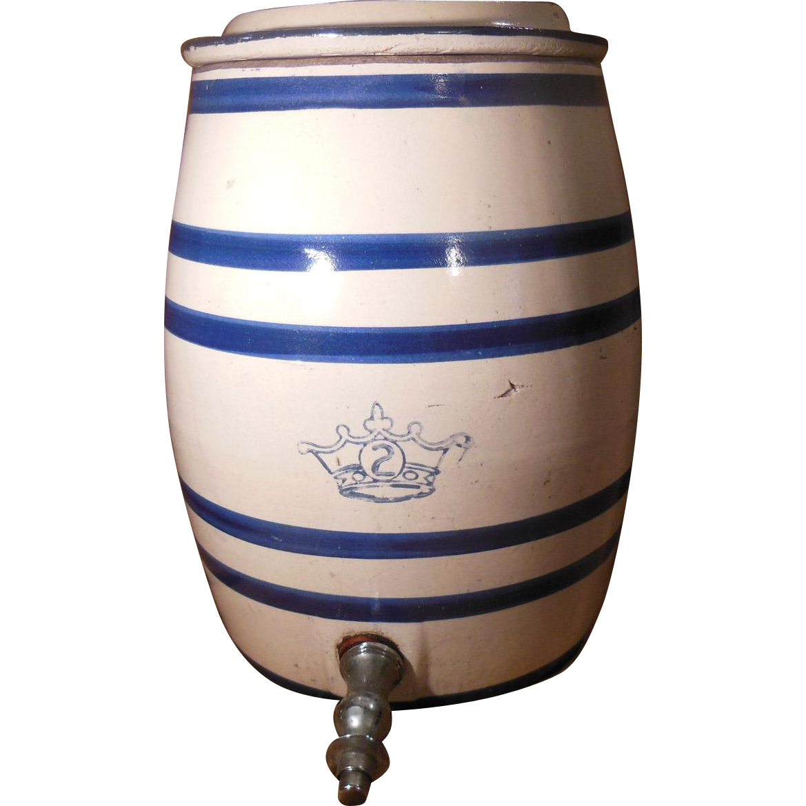 Vintage 2 Gallon Blue and White Stoneware Water Cooler Dispenser with Lid