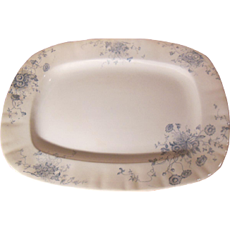 Blue Transferware Platter Daisy Pattern Whittaker, Heath & Co. Circa 1892