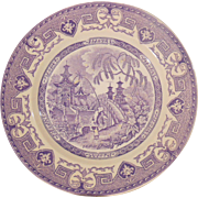 Purple Transferware Plate U & C Sarreguemines France Yeddo Pattern
