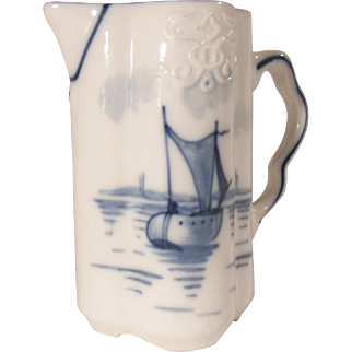 Early Blue and White Delft Style Milk Pitcher Sailboat