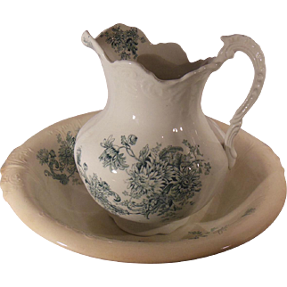 Buffalo Pottery Wash Bowl and Water Pitcher Chrysanthemum Pattern Green