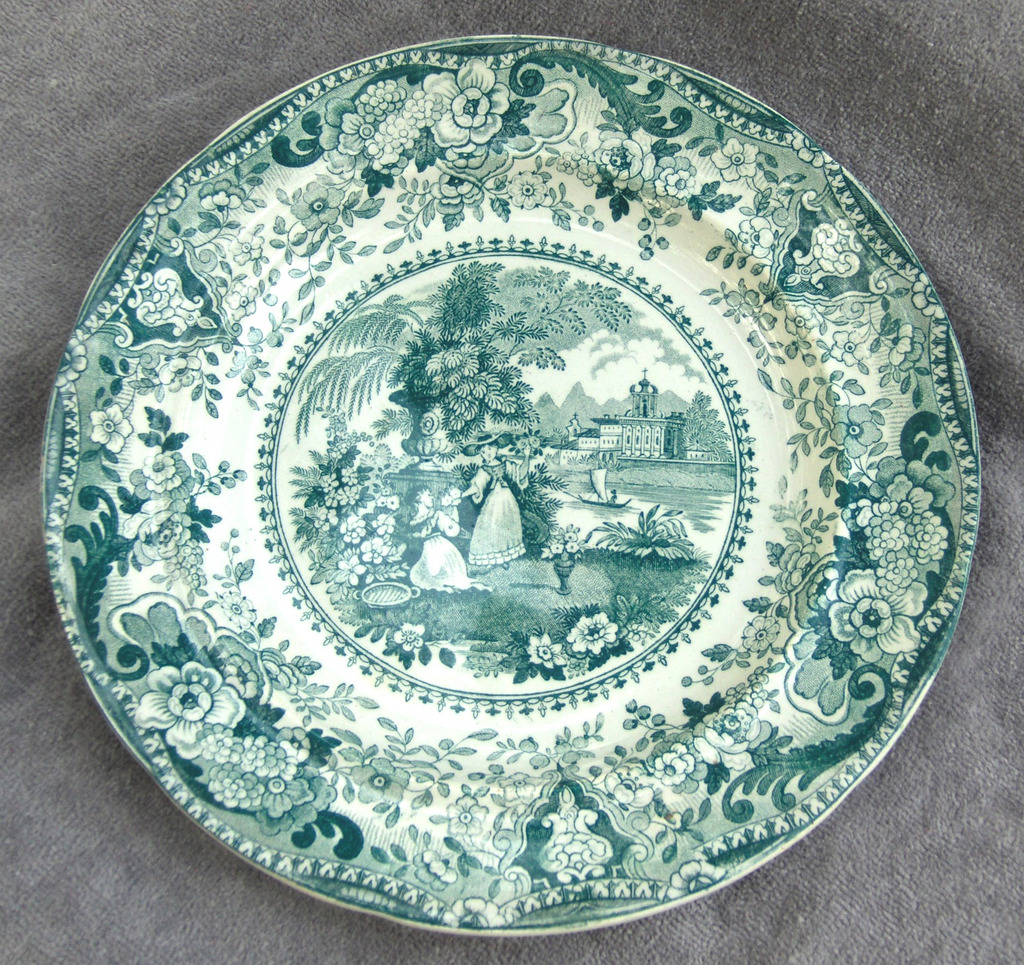 19th Century R. Hall Green Transferware Plate Italian Buildings Pattern