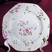 "Pretty Octagonal  8"" Green Floral Wessex Plate by F. Winkle & Co."