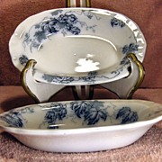 Two 19th Century Small Rectangular Dishes Kent Pattern