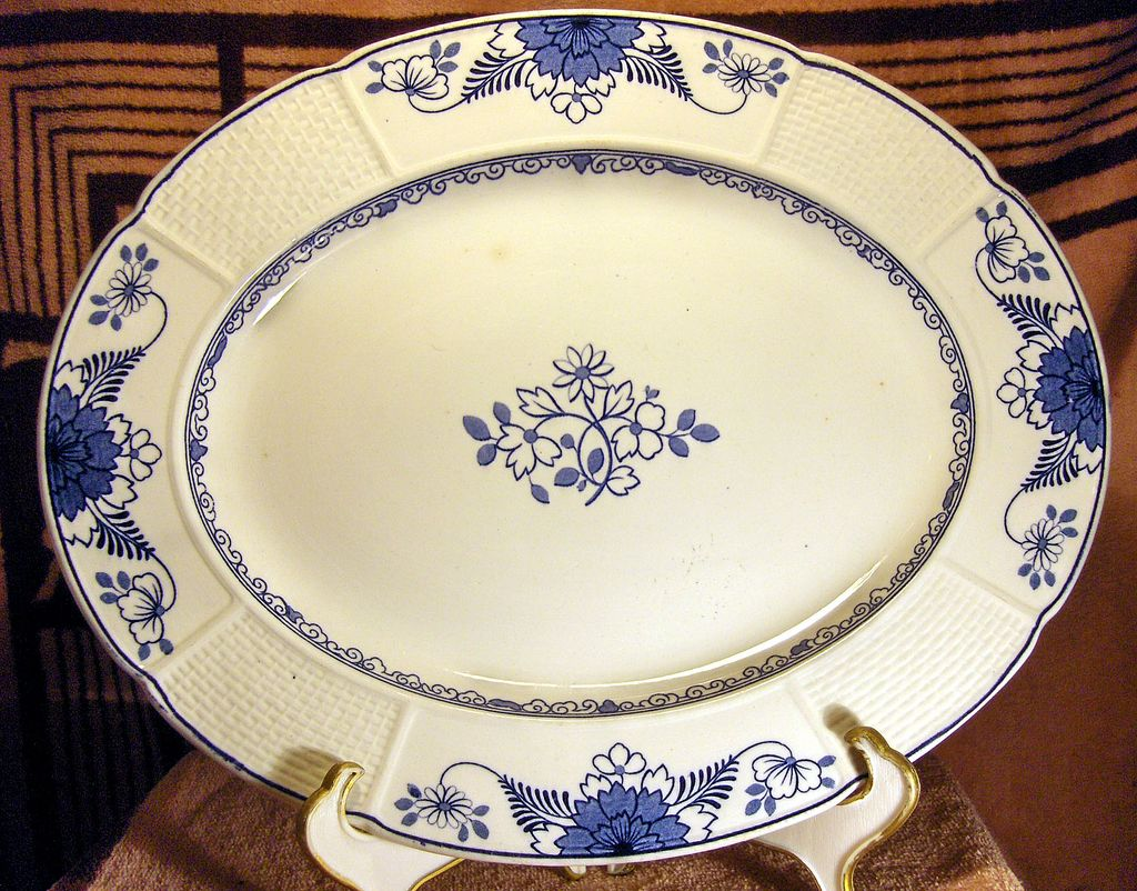 Blue and White Wedgwood Platter in the Saxon Pattern