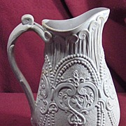 Antique Relief Molded Salt Glaze Pitcher with Beading and Scrolls