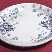Weatherby Blue Transferware Butter Pat with Flowers Stratford Pattern