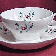 19th Century Early English Sprig Cup and Saucer with Red Flowers