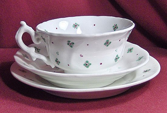 19th Century Early English Sprig 3 Piece Set