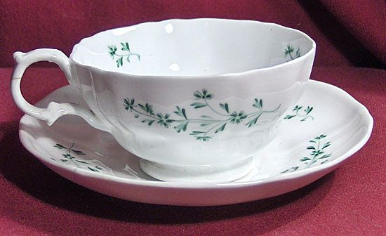 19th Century Early English Sprig Cup and Saucer with Green Flowers and Leaves