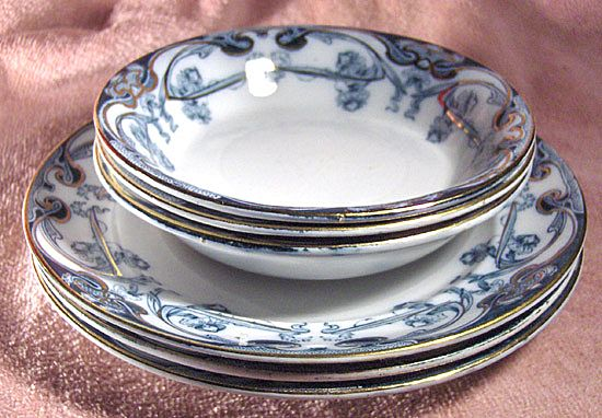 Royal Staffordshire Pottery Flow Blue Iris Pattern Berry Bowl and Plate
