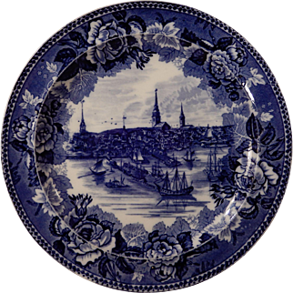 English Historic Dark Blue Transferware Plate Wedgwood Boston in 1768
