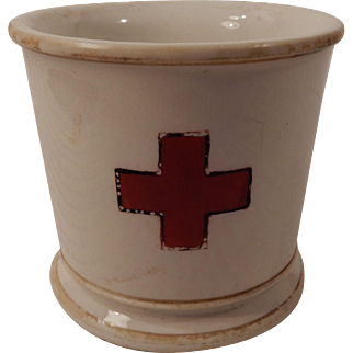 Unusual Early Pottery Red Cross Barbershop Shaving Mug Circa 1900
