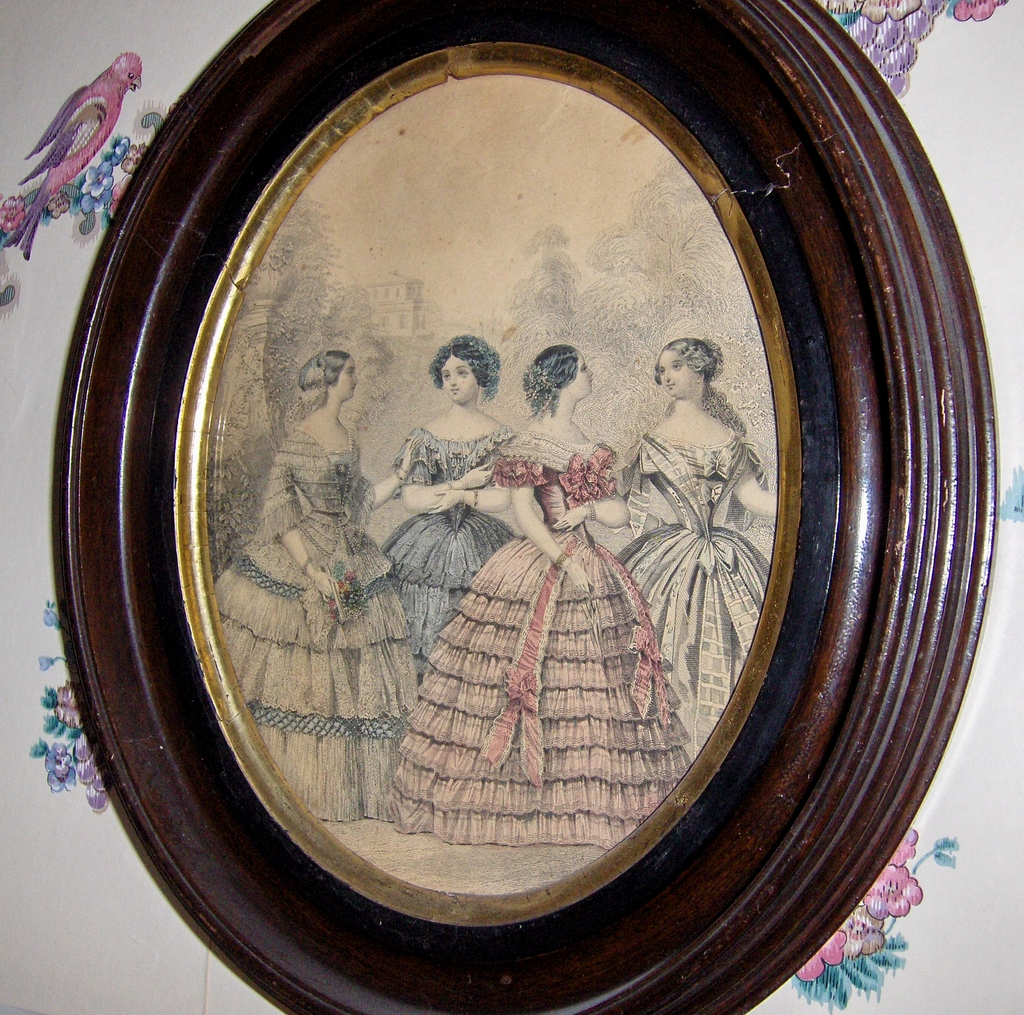 antique oval wood frame with 1860s fashion print